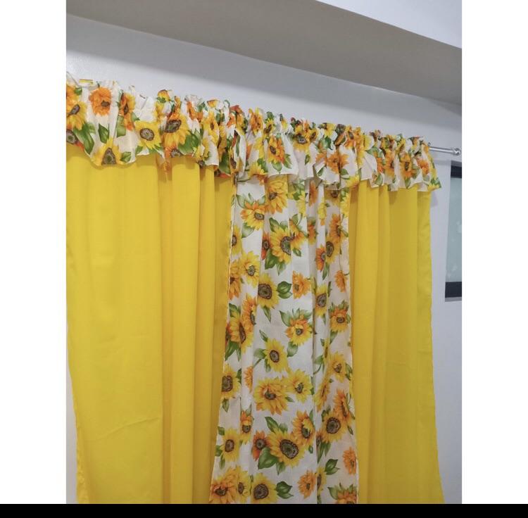 Split Sunflower Printed Curtain Lazada Ph, Yellow Ruffle Curtains